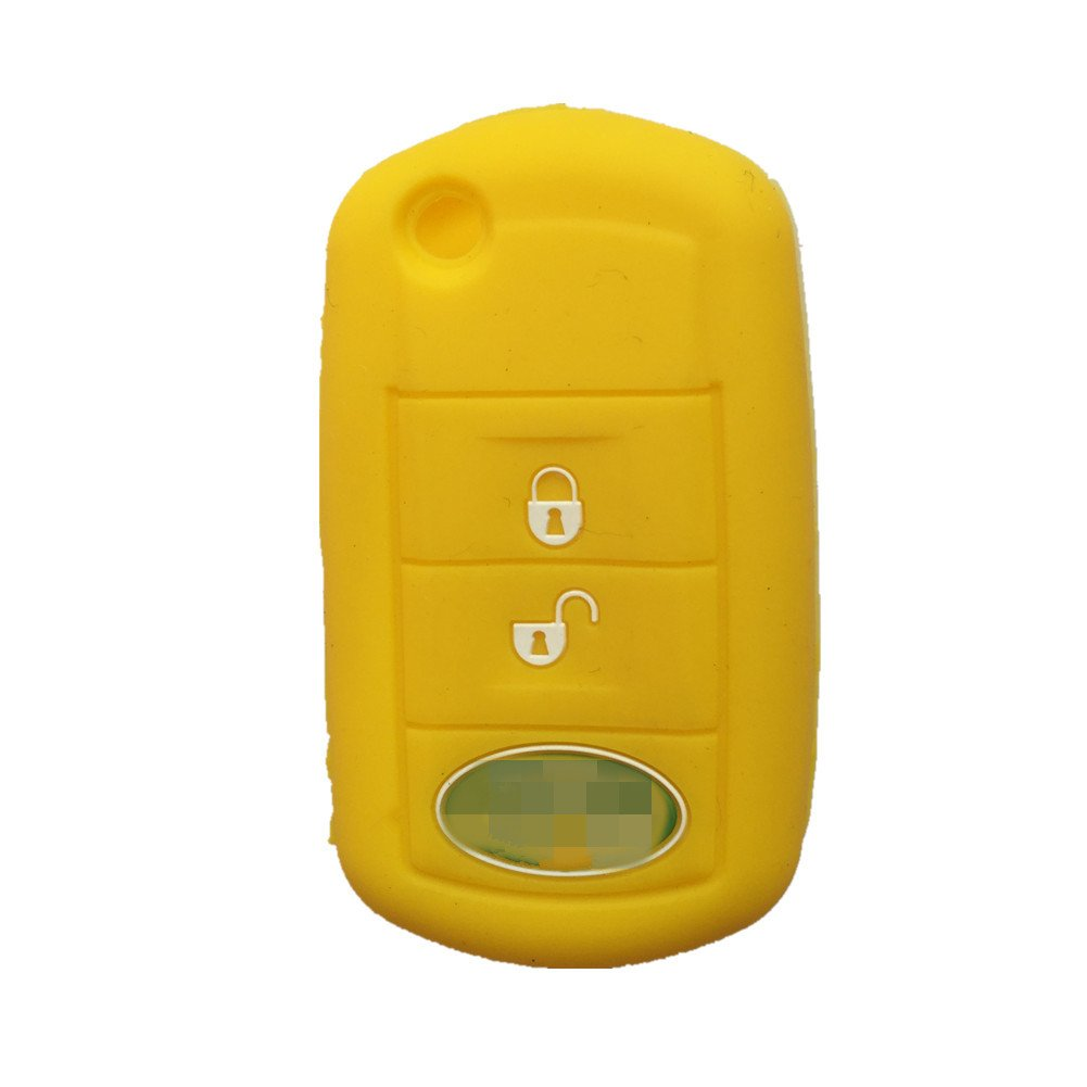 Ezzy Auto New Yellow Key Jacket Fob Skin Fob Case Skin Jacket Cover Protector for LAND ROVER LR3 Range Rover Range Rover Sport