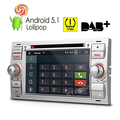 XTRONS Quad Core 7'' Android 5.1 Lollipop Car CD DVD GPS 2 DIN Stereo Radio Tire Pressure Monitoring for Ford Focus Fusion Mondeo by XTRONS