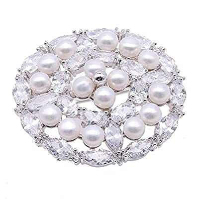 Wholesale JYX Delicate White Freshwater Pearl Brooch Pins Zircon-inlaid for cheap