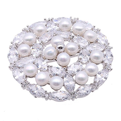 JYX Delicate White Freshwater Pearl Brooch Pins Zircon-inlaid -