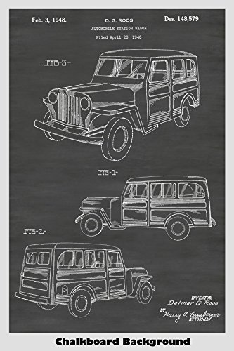 Willys Jeep Wagon - Jeep Willys Station Wagon Patent Print Art Poster: Choose From Multiple Size and Background Color Options
