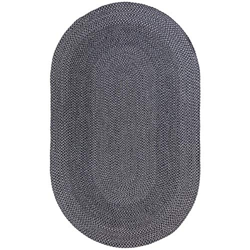 Decomall Azure Solid Color Braided Indoor Outdoor Area Rugs, Grey 3'x5' Oval ()