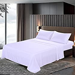 Htovila 110 GSM Bed Sheet Set - Brushed Microfiber 2100 Bedding - Wrinkle, Fade, Stain Resistant - Hypoallergenic - 4 Piece(White, Queen)