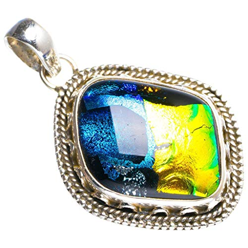 (Natural Rainbow Dichroic Glass Handmade Unique 925 Sterling Silver Pendant 1.75
