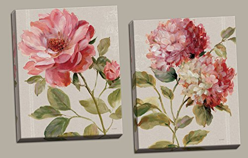 Gango Home Décor Beautiful Blooming Rose and Hydrangea Flower Print Set by Lisa Audit; Floral Decor; Two 16x20in Canvases - Lisa Audit Rose