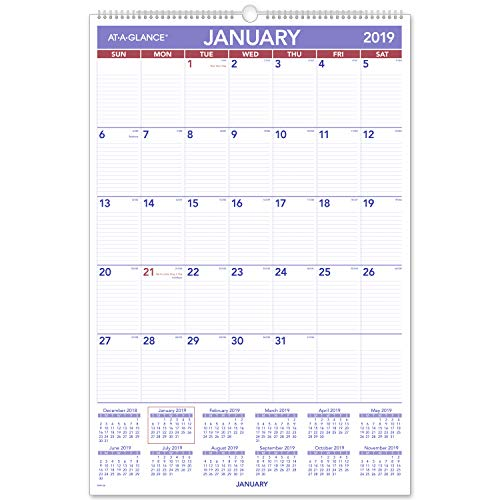 "AT-A-GLANCE 2019 Monthly Wall Calendar, 20"" x 30"", XLarge, Wirebound (PM428) from AT-A-GLANCE"