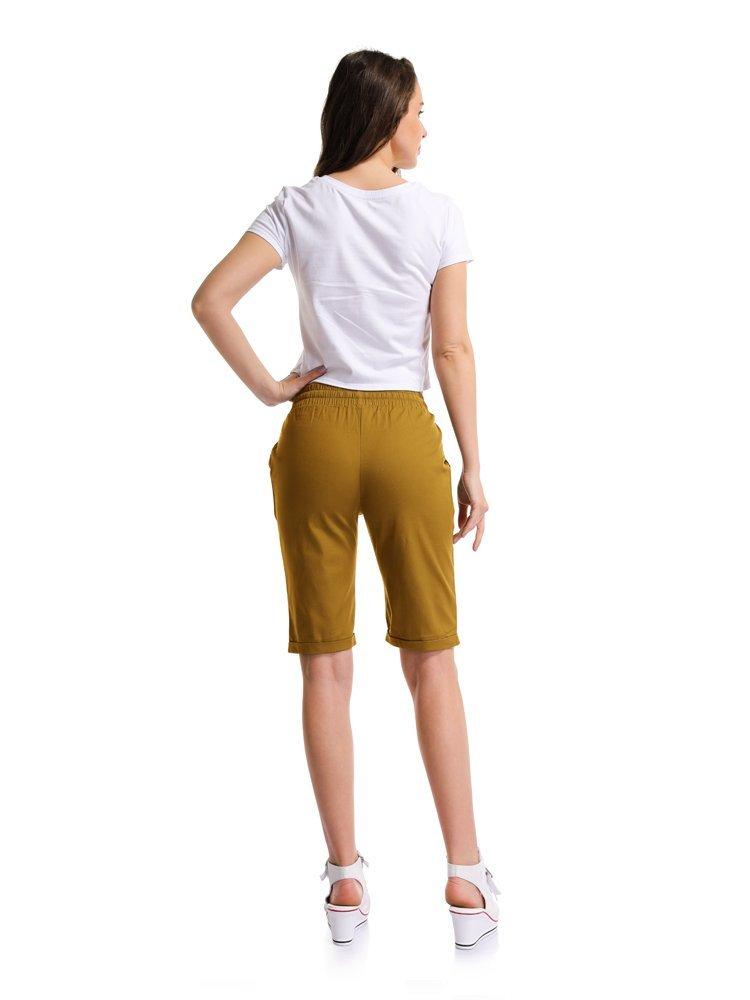 Sobrisah Womens Casual Drawstring Elastic Waist Knee Length Curling Bermuda Shorts