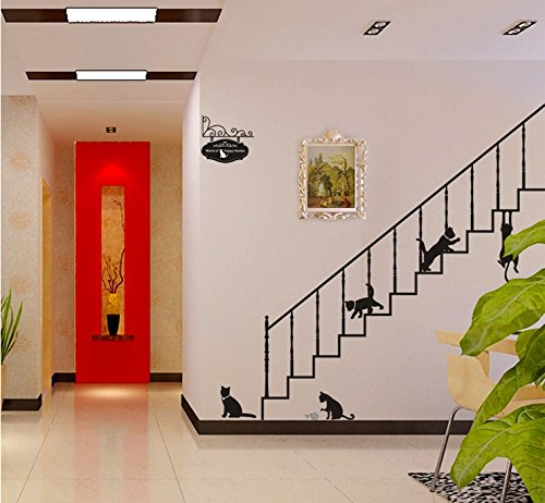 TOTOMO #W148 Cat On Stairs Wall Decals Removable Wall Decor Decorative Painting Supplies & Wall Treatments Stickers for Girls Kids Living Room Bedroom