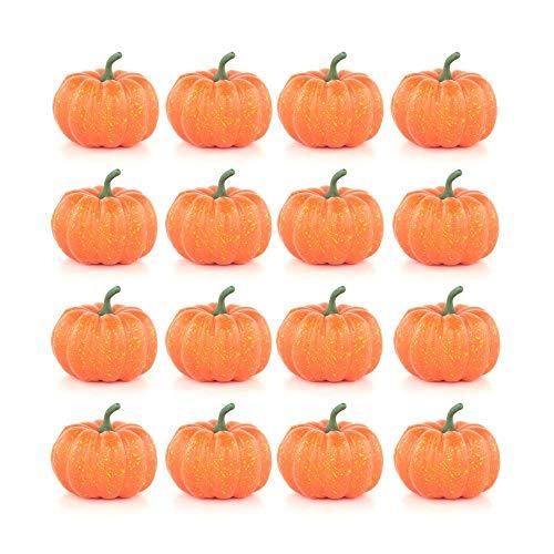 FOONEE Fake Pumpkins, Carvable Pumpkins Artificial Pumpkin Decoration,Fake Vegetables Faux Pumpkins Halloween House Decoration-Set of 16 - Orange -