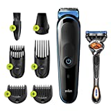 Braun 7-in-1 Trimmer Mgk3245 Beard Trimmer for Men, Face Trimmer and Hair Clipper, Black/blue , 1 count