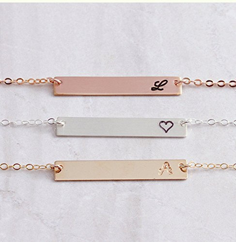 Personalized Rose Gold Bar Necklace Custom Gold Bar Necklace Personalized Bar Necklace Gold Bar Engraved Bar Necklace