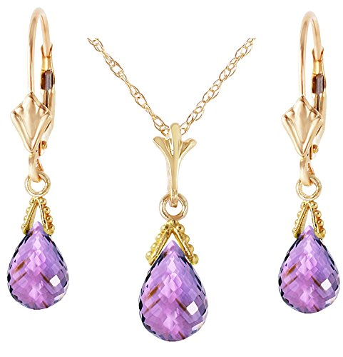 - 14k Yellow Gold Jewelry Set: Natural Briolette Purple Amethyst 22