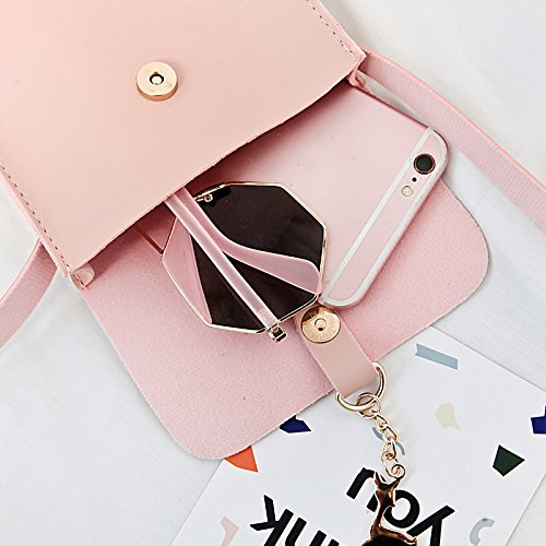 Leather Women PU Pink Bag Wicemoon Lady Storage Body Bag Bag Handbags Across Tassel for Cross Bag Body Wallet Women's Cosmetic Shoulder RSqUwIXqf