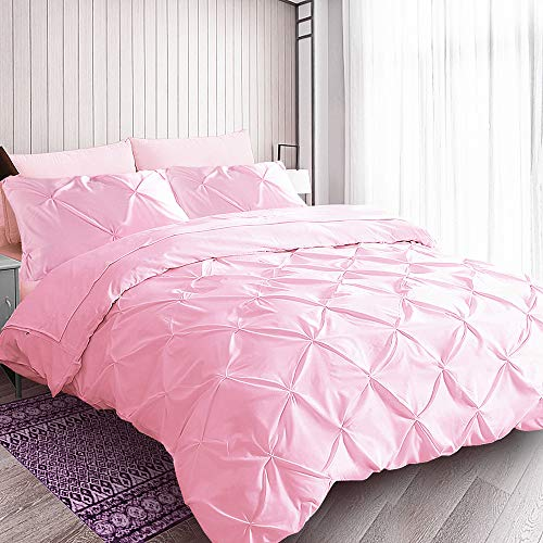 Pink Duvet Cover Queen, Cotton Reverse, Soft Cute Ruched Pinch Pleated Pintuck Diamond Pattern Duvet Cover for Girls Women Bedroom, 90
