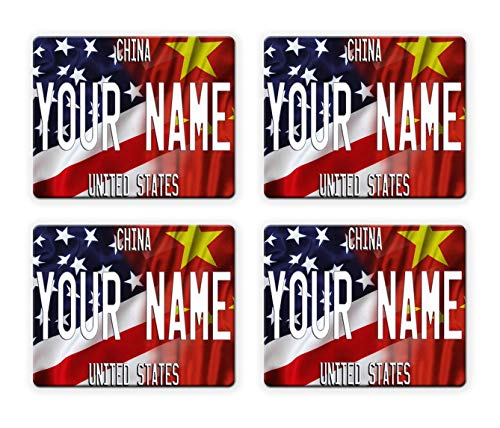 BRGiftShop Personalize Your Own Mixed USA and China Flag Set of 4 Square Beverage Coasters