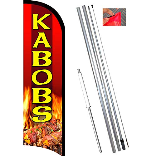 KABOBS Premium Windless Feather Flag Bundle (11.5' Tall Flag, 15' Tall Flagpole, Ground Mount Stake) ()