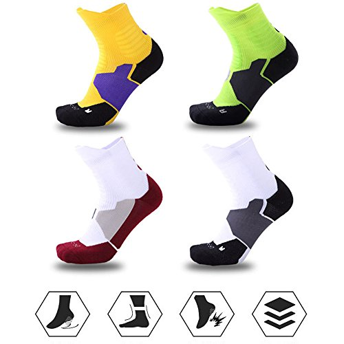 Thick Protective Sport Socks Mixed Color Cushioned Elite Basketball Compression Athletic Outdoor Crew Socks for Men Women Boys Girls US size 7~13 – DiZiSports Store