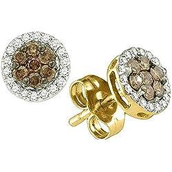 0.25 Carat (ctw) 10k Yellow Gold Brown & White Diamond Ladies Cluster Earrings