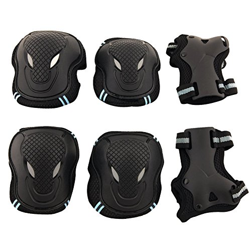 Eforstore 6 Pcs Skateboarding Knee Elbow Wrist Pads Support Set Protective Gear Safety Pad Guard for Skateboard Roller Blading Cycling Skates Bikes Outdoor Sports For Children Kids Adult Women Men Teens Boys Girls (Black&Blue, S for weight 25-40kg)