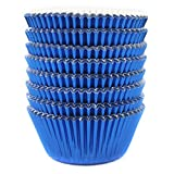 Eoonfirst Blue Foil Metallic Cupcake Case Liners Baking Muffin Paper Cases 198 Pcs