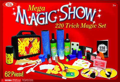 Ideal 220 Trick Mega Magic Show Kit 62 Piece Set with Top Hat and Wand Ages 7 and Up ()