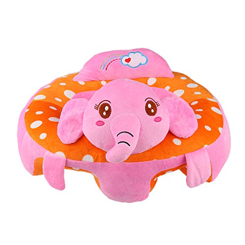 MonkeyJack Colorful Baby Support Seat Learn Sit Soft Chair Cushion Sofa Plush Pillow Toys - Pink Elephant