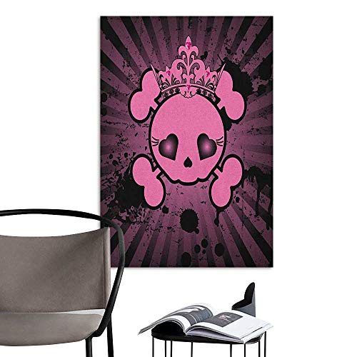 Jaydevn Art Decor 3D Wall Mural Wallpaper Stickers Skull Cute Skull Illustration with Crown Dark Grunge Style Teen Spooky Halloween Print Pink Black for Kids Rooms Boy Room W8 x H10