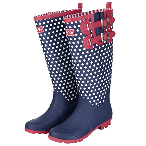 Polka Spots Navy Dot 09204 Layla White UK Wellies Shoo 39 Ladies Boots EU 6 Ruby txqY0wnXSx