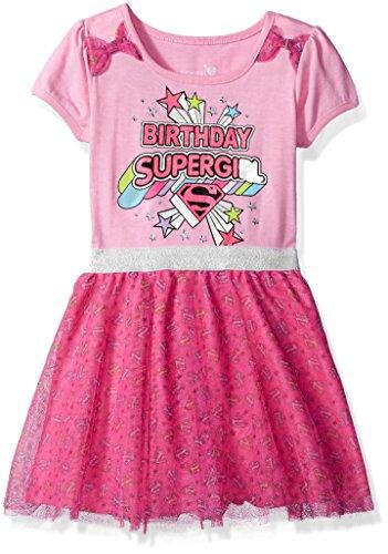 DC Comics Girls' Little Supergirl Birthday Dress, Pink, 6 for $<!--$19.99-->