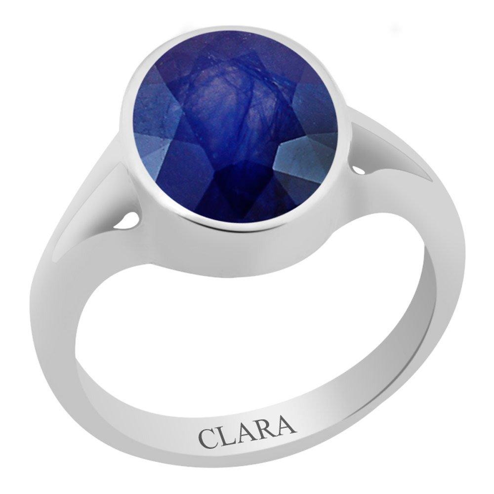 3cts or 3.25ratti Zoya Silver Ring Neelam Clara Certified Blue Sapphire