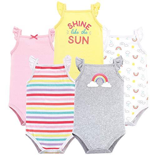 (Hudson Baby Unisex Baby Sleeveless Cotton Bodysuits, Rainbows 5-Pack, 12-18 Months (18M))