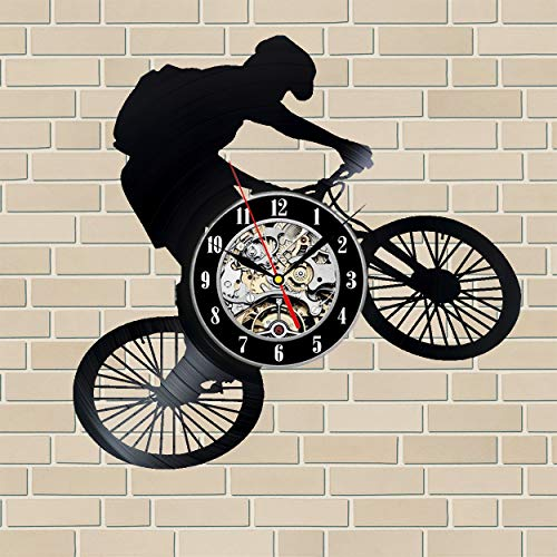 Road Bike Record (Mountain Bike Bicycle Road Wall Clock 12 in(30cm) Black Decor Modern Decorative Vinyl Record Wall Clock This Clock is A Unique Gift to Your Friends and Family for Any Occasion …)