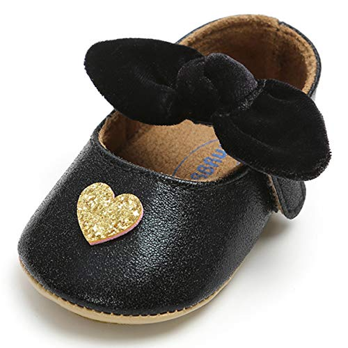 Baby Girls Sparkly Mary Jane Flats with Bowknot Non Slip Toddler Infant First Walkers Princess Wedding Dress Love Heart Pattern Shoes ()