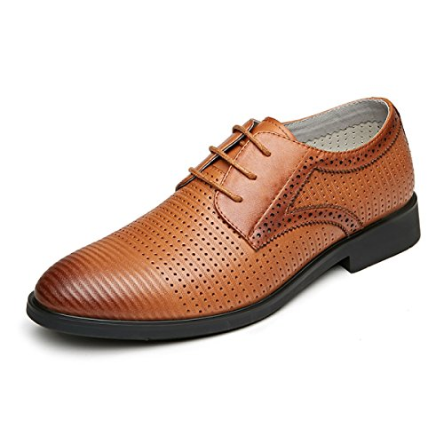 Cuir LYJBIK Affaires Brun Couleur Gradient Brown Casual Chaussures Orteil Hommes Respirant Confortable Noir trwUr