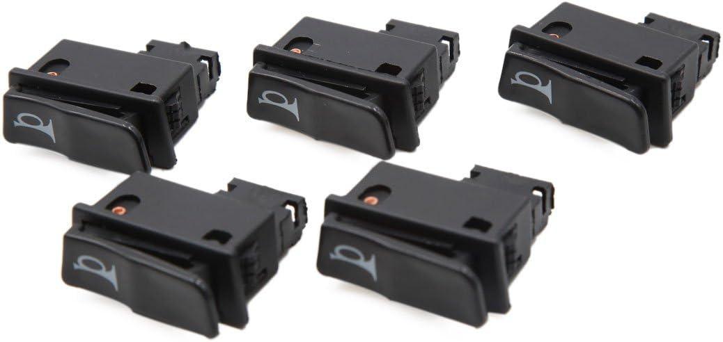 sourcingmap/® 5pcs Noir 2 bornes interrupteur klaxon Moto 12-24 V Bouton poussoir pour GY6125