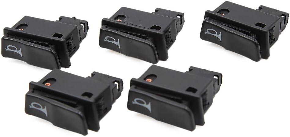 Noir 2pcs 2 bornes interrupteur klaxon Moto 12-24 V Bouton poussoir pour GY6125