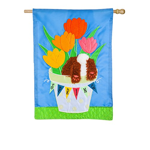 Evergreen Spring Tulips Outdoor Safe Double-Sided Applique House Flag, 28 x 44 inches