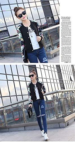 Cappotto Slim Lunga Corto Casual Pattern Pulsante Women Stampate Giaccone Schwarz Moda Giacca Elegante Autunno Donna Manica Baseball Outwear Giovane Fit 44vwqr7