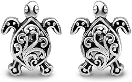 925 Oxidized Sterling Silver Small Little Filigree Sea Turtle 11 mm Post Stud Earrings