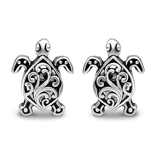 925 Oxidized Sterling Silver Small Little Filigree Sea Turtle 11 mm Post Stud Earrings