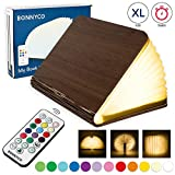 Book Lamp Wood & Paper Lamp with Remote Control, 12 Colors & Timer – BONNYCO | Book Lovers Gifts Bedroom, Home & Room Decor | Book Lights Unique Lamps Christmas & Birthday Gifts for Women and Men