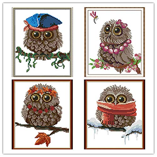 4 Pack Cross Stitch Kits, Awesocrafts Owls Four Seasons Easy Patterns Cross Stitching Embroidery Kit Supplies Christmas Gifts, Stamped or Counted (Owls 7, Counted)
