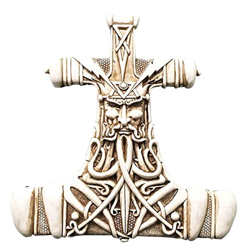 Bone Wall (Viking God Thor Bone Hammer Mjolnir Thunder Wall Sculpture Plaque Figurine)