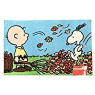 Nourison Peanuts Character Oversized Floor Mat Area Rug, 20-Inch x 32-Inch (Snoopy Charlie Brown Raking Leaves)