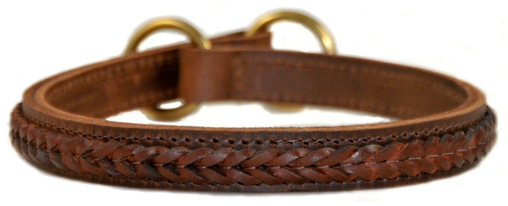 Dean and Tyler CLASSY KEIR Dog Collar Solid Brass Hardware Brown Size 41cm x 3cm Width. Fits neck size 16 Inches to 18 Inches.