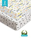 Bouncy Baby Crib Sheets - Organic & Shrink-Resistant, Unisex Fitted Cotton Sheets for Standard Baby Crib Mattresses - No Rips or Holes with Use, Guaranteed - Great Baby Shower Gift- 2 Pack