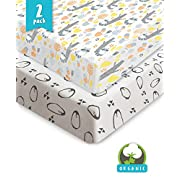 Pickle & Pumpkin Premium Crib Sheets | 100% Organic Jersey Cotton 2 Pack Baby Boy and Baby Girl Fitted Crib Mattress Cotton Sheets | Fits Standard Baby Mattress & Toddler Mattress | Perfect Gift