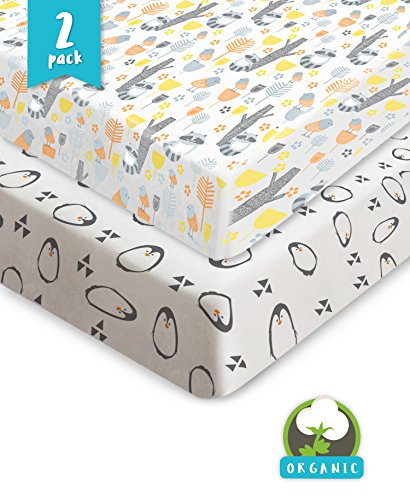Organic Cotton Fitted Crib Sheet (Pickle & Pumpkin Premium Crib Sheets | 100% Organic Jersey Cotton 2 Pack Baby Boy and Baby Girl Fitted Crib Mattress Cotton Sheets | Fits Standard Baby Mattress & Toddler Mattress | Perfect Gift)