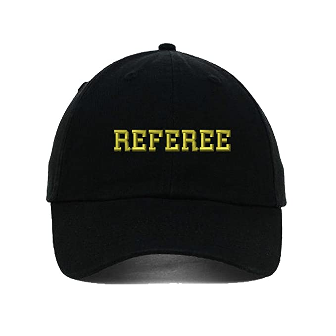 51b81523ba8 Image Unavailable. Image not available for. Color  Speedy Pros Referee  Soccer Football Embroidery Twill Cotton 6 Panel Low Profile Hat Black
