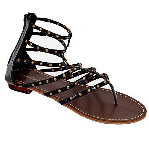 SAPPHIRE Women's Patent Gold Studded Thin Straps Casual Ladies Shoes Gladiator Sandals Black INV0K